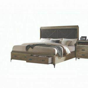 ACME Athouman California King Bed w/Storage - 23914CK - PU & Weathered Oak
