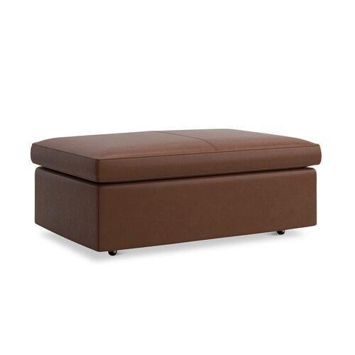 Melina Toffee Melina Leather Storage Ottoman