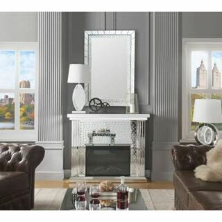 ACME Nysa Fireplace - 90204 - Mirrored & Faux Crystals