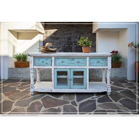 """See Details - 70"""" TV Stand in White Finish, w/3 sky blue drawer & 2 sky blue doors"""