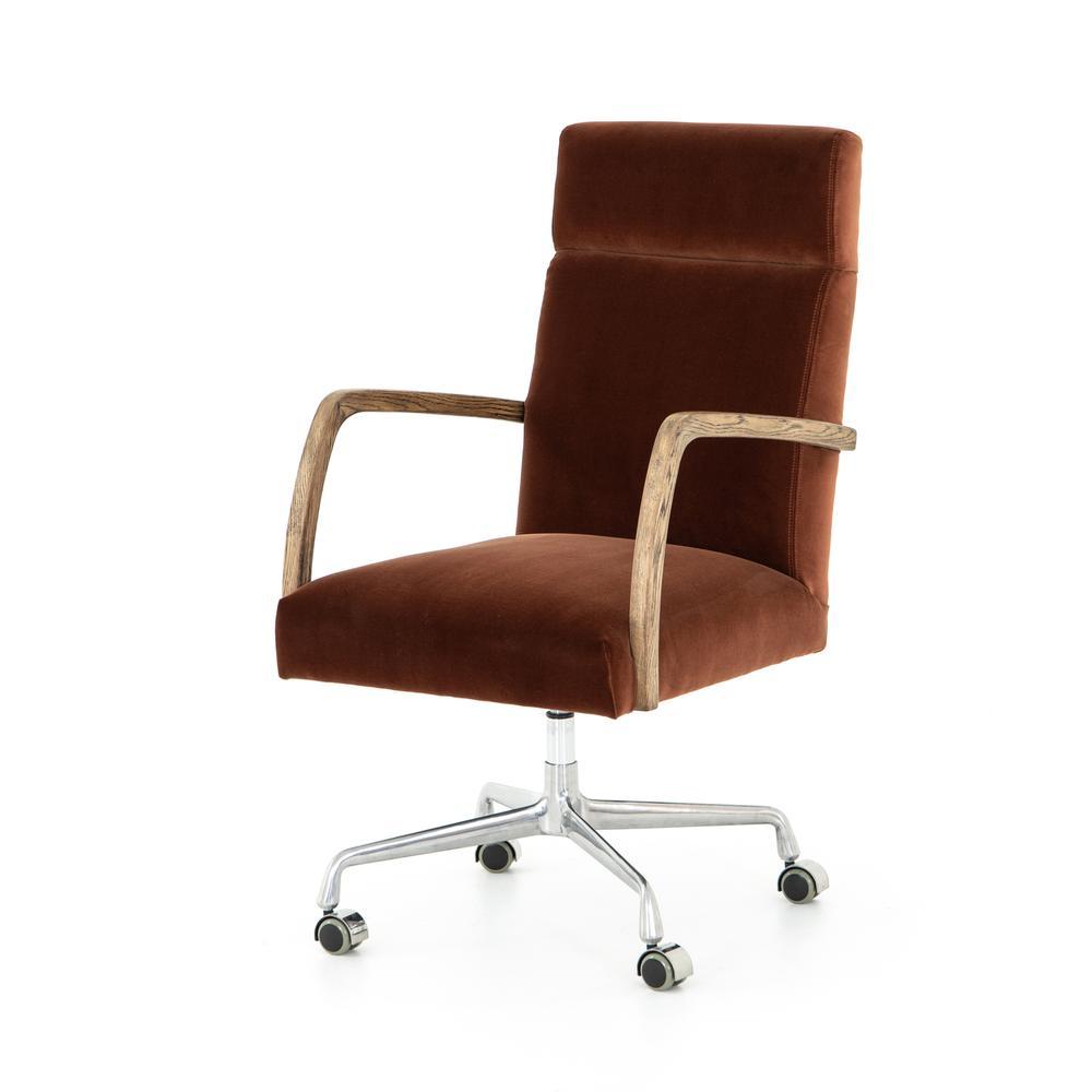 Auburn Velvet Cover Bryson Desk Chair
