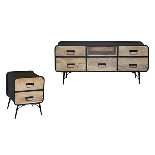 Progressive Furniture - Nightstand - Natural/Iron Finish