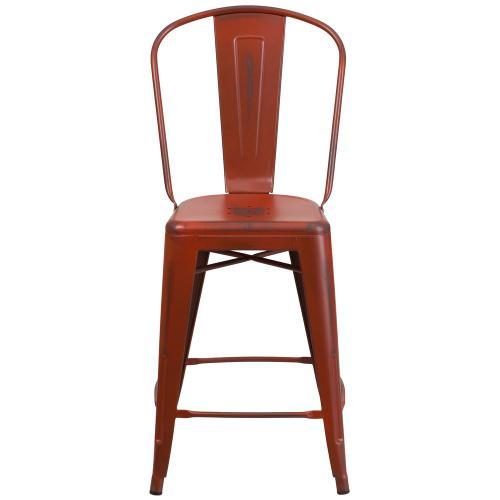 24'' High Distressed Kelly Red Metal Indoor-Outdoor Counter Height Stool with Back