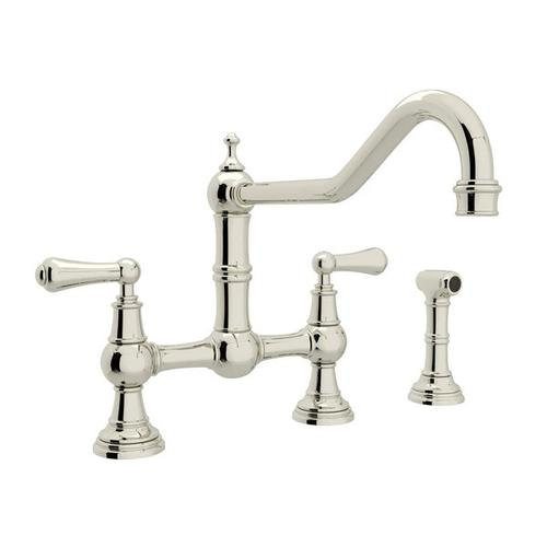 Edwardian Bridge Kitchen Faucet with Sidespray - Polished Nickel with Metal Lever Handle