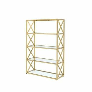 ACME Milavera Bookshelf - 92460 - Gold & Clear Glass