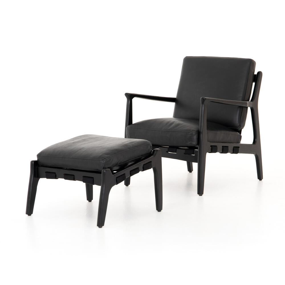 Aged Black Cover Silas Chair With Ottoman