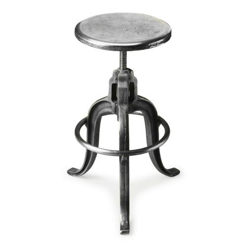 Butler Specialty Company - Sitting comfortably in a vintage industrial zone, this wonderfully low-tech, iron Bar Stool can be adjusted to the ideal height simply by turning the seat.