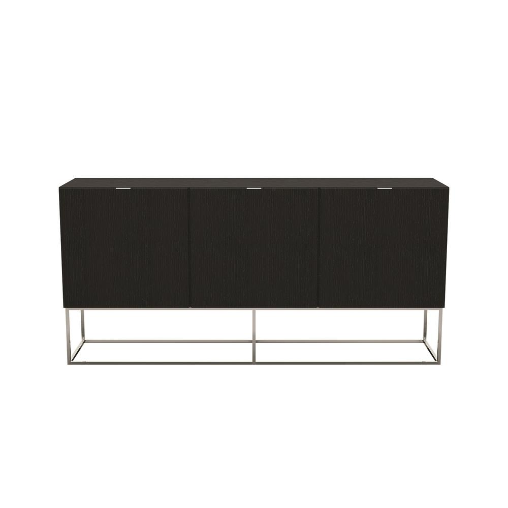 The Vizzione Buffet-server In Dark Gray Oak Veneer And High Polished Stainless Steel