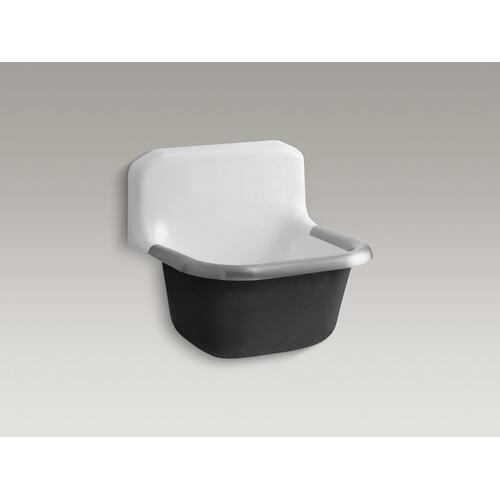 "White 24"" X 20-1/4"" Wall-mounted or P-trap Mounted Service Sink With Rim Guard and Blank Back"