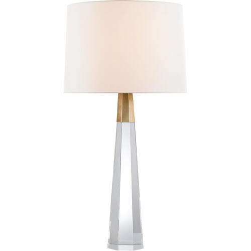 AERIN Olsen 33 inch 60 watt Crystal and Hand-Rubbed Antique Brass Table Lamp Portable Light