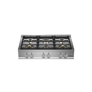 Bertazzoni36 Gas Rangetop 6 brass burners Stainless Steel