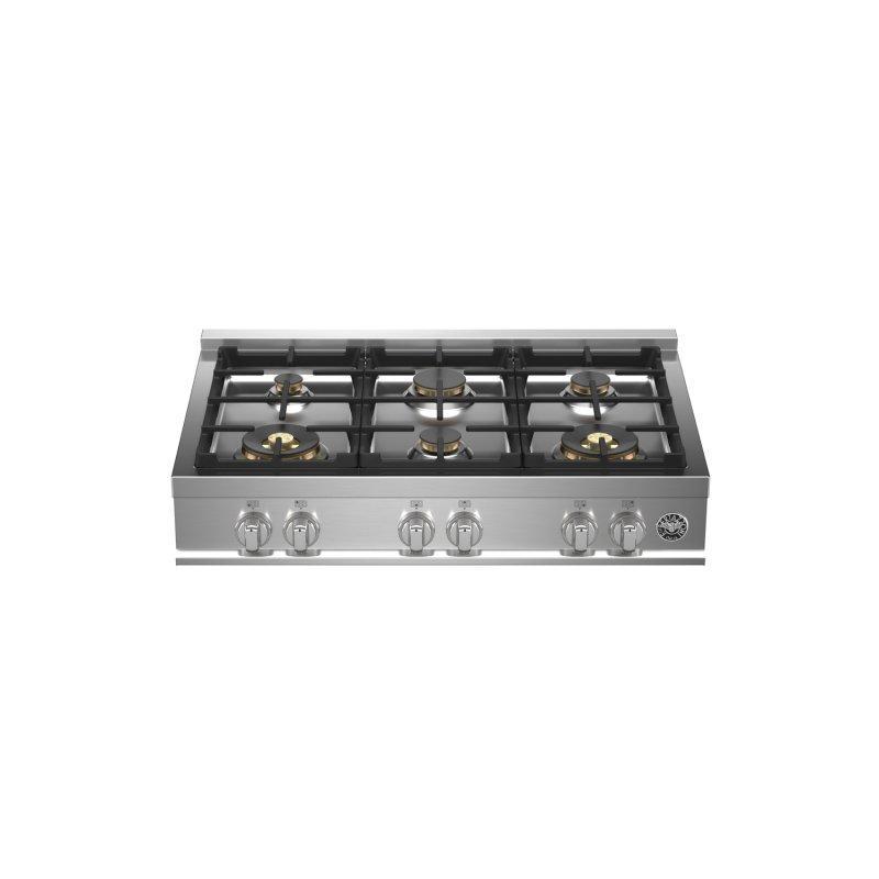 36 Gas Rangetop 6 brass burners Stainless Steel