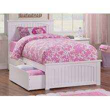 View Product - Nantucket Twin Bed with Matching Foot Board with 2 Urban Bed Drawers in White