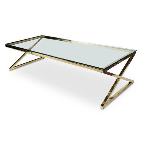 Stacy Rectangular Cocktail Table W/brass Legs