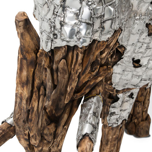 Amini - Wood Crafted Elephant W/aluminum, Medium