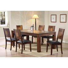 See Details - Walnut & Ash Burl Veneer Table & Chair Dining Set