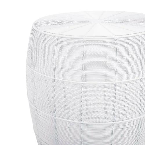 This versatile drum-shaped end table is sure to be a focal point in the living room, office, or in the bedroom as a nightstand. A unique blend of classic lines with contemporary edge, the table will beautifully complement a modern farmhouse or an industrial loft. It is constructed from rings of iron wire hand-welded to iron wire spokes that begin at the top and run down the length of the table, and is available in a choice of stylish powder coat finishes.