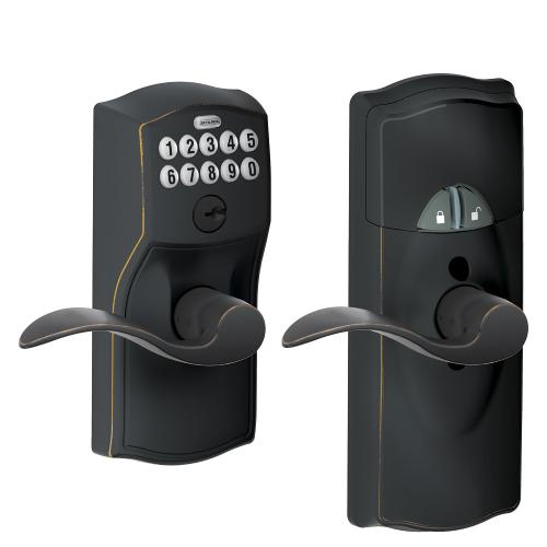Schlage - Connected Keypad Lever with Camelot trim and Accent Lever - Aged Bronze