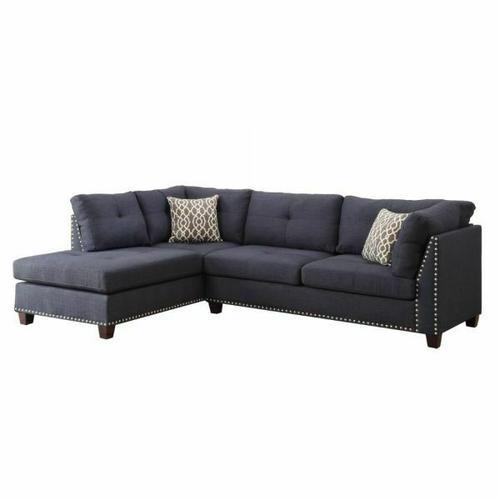 ACME Laurissa Sectional Sofa & Ottoman (2 Pillows) - 54360 - Dark Blue Linen