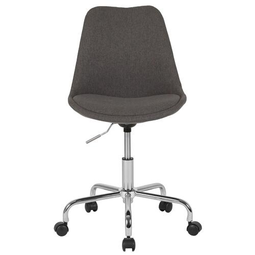 Mid-Back Dark Gray Fabric Task Chair with Pneumatic Lift and Chrome Base