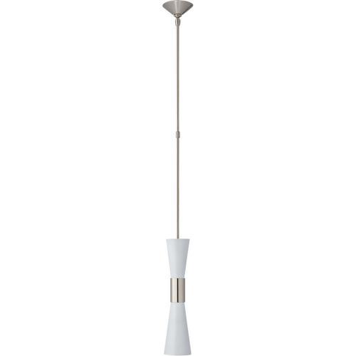 Visual Comfort - AERIN Clarkson 2 Light 5 inch Polished Nickel Narrow Pendant Ceiling Light in White, Medium