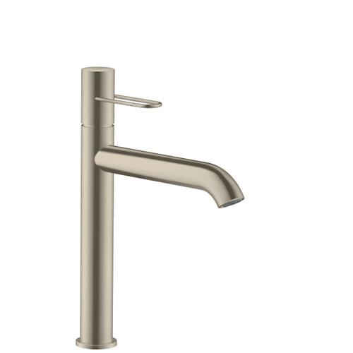 Brushed Nickel Single lever basin mixer 190 with loop handle for wash bowls and waste set