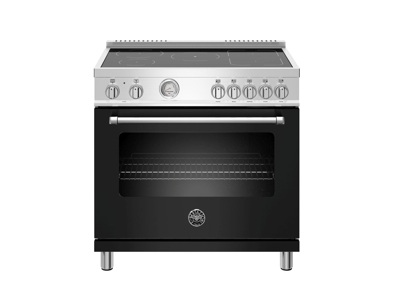 Bertazzoni36 Inch Induction Range, 5 Heating Zones, Electric Oven Nero Matt