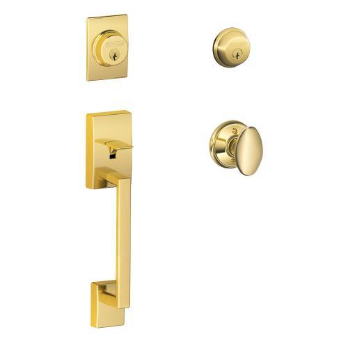 Century Double Cylinder Handleset and Siena Knob - Bright Brass