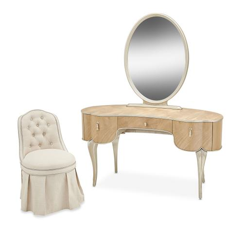 Product Image - Vanity/desk W/mirror & Chair 3 PC