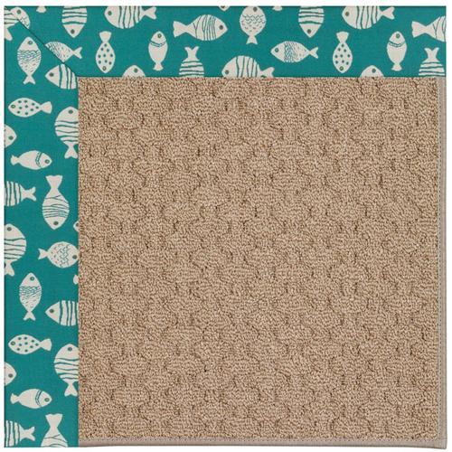 Creative Concepts-Grassy Mtn. Go Fish Turquoise Machine Tufted Rugs