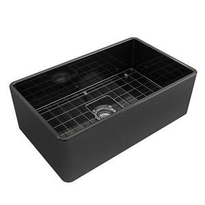 Crisfield Single Bowl Fireclay Farmer Sink - Black Product Image
