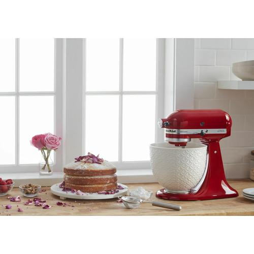 Gallery - Artisan® Series Tilt-Head Stand Mixer with White Mermaid Lace Bowl - Empire Red