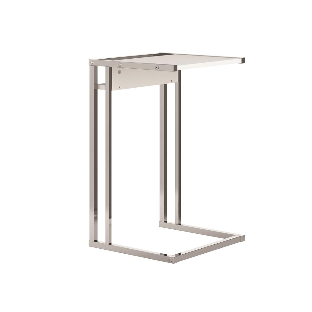 The Noa C End Table Part Of Our Kd Collection In Matte White With Chromed Metal Frame