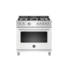 36 inch All Gas Range, 5 Burners Bianco Matt