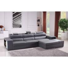 See Details - Divani Casa Polaris Mini - Contemporary Grey Bonded Leather Right Facing Sectional Sofa