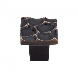Cobblestone Square Knob 1 1/8 Inch - Brass Antique