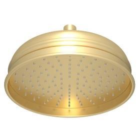 "Satin Unlacquered Brass 8"" Bordano Rain Anti-Calcium Showerhead"