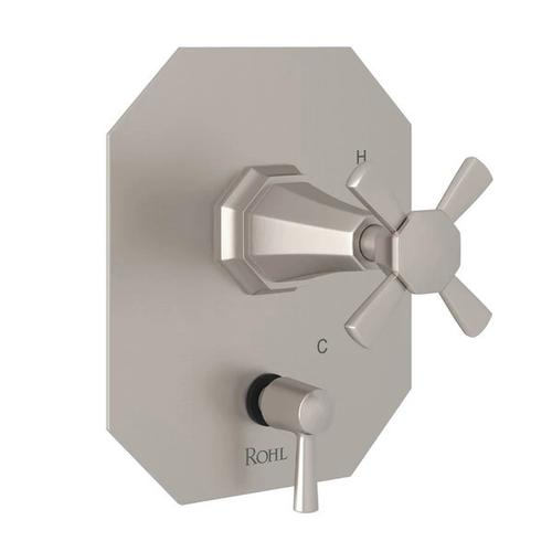 Deco Pressure Balance Trim with Diverter - Satin Nickel with Cross Handle