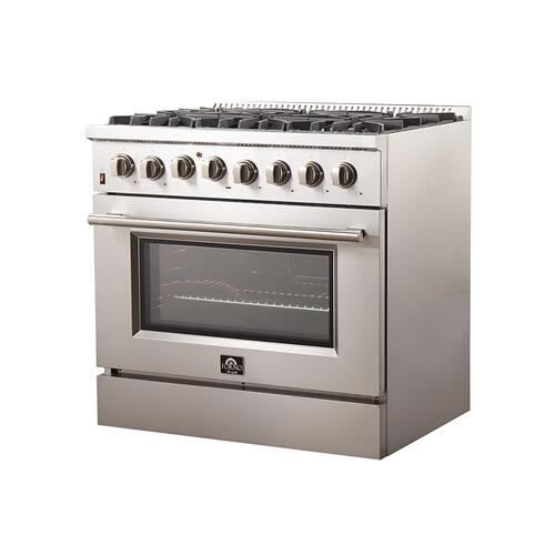 """Galiano - Gold Professional 36"""" Freestanding Dual Fuel 240V Electric Oven and Gas Surface Range"""