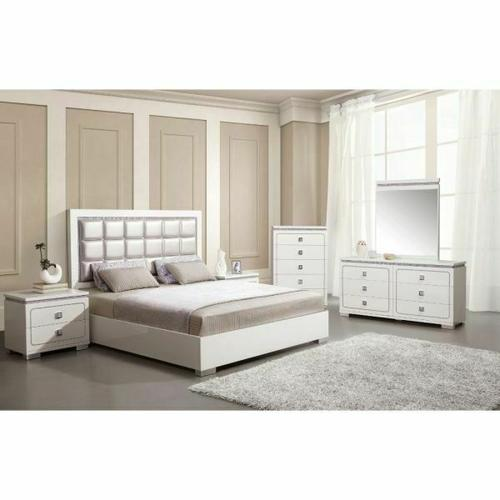 ACME Valentina Queen Bed - 20250Q - Pearl PU & White High Gloss