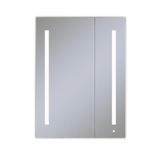 """Aio 29-1/4"""" X 40"""" X 4"""" Dual Door Lighted Cabinet With Large Door At Left With Lum LED Lighting In Bright White (4000k), Dimmable, Built-in Om Audio, Interior Lighting, Electrical Outlet, Usb Charging Ports and Magnetic Storage Strip"""