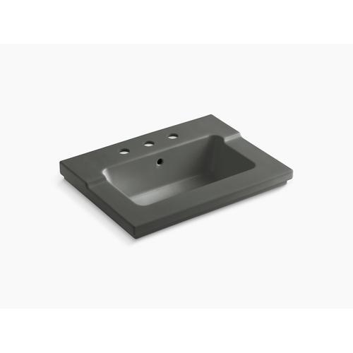 "Thunder Grey Vanity-top Bathroom Sink With 8"" Widespread Faucet Holes"