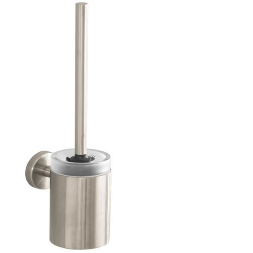Brushed Nickel Toilet Brush with Holder