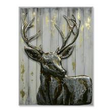 Buck Luxe 30x40 Wood and Metal Wall Art