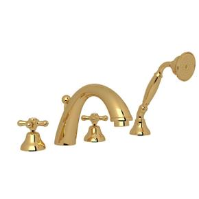 Verona 4-Hole Deck Mount C-Spout Tub Filler with Handshower - Italian Brass with Cross Handle