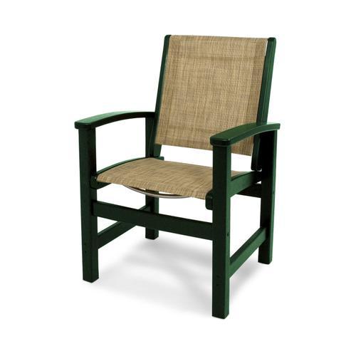 Green & Burlap Coastal Dining Chair
