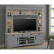 AMERICANA MODERN - DOVE 92 in. TV Console with Hutch and LED Lights Product Image