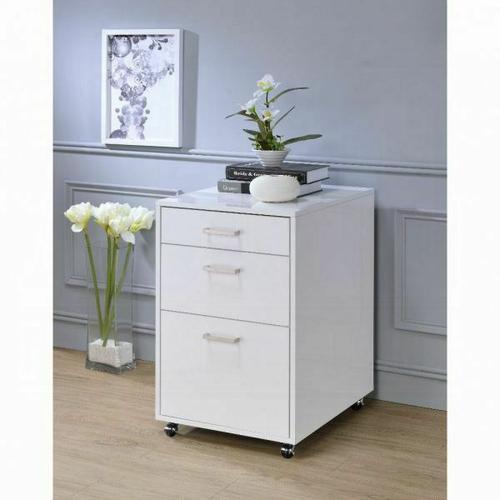 ACME Coleen File Cabinet - 92454 - White High Gloss & Chrome
