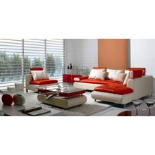 See Details - Divani Casa B205 - Modern White & Red Leather Sectional Sofa Set