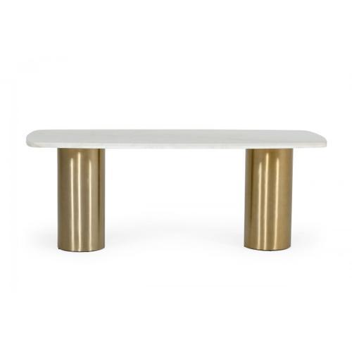 VIG Furniture - Modrest Rocky - Glam White Marble & Brush Gold Dining Table